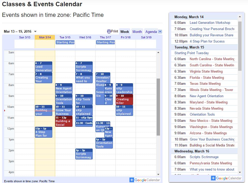 exp realty training events calendar